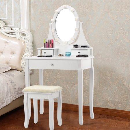 Gymax 3 Drawers Vanity Makeup Dressing Table Stool Set