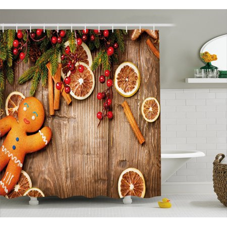 Gingerbread Man Shower Curtain  Rustic Composition With Holly Berry Orange Slice Cinnamon And Biscuit  Fabric Bathroom Set With Hooks  69W X 75L Inches Long  Brown Orange Red  By Ambesonne