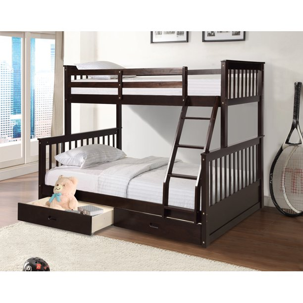Bunk Beds Twin Over Full Solid Wood Bunk Bed Nbsp Kids Twin Over Full Bunk Beds Bunk Bed Organizer With Four Step Ladder Guardrails 2 Storage Drawers Bunk Beds For Kids Girls Espresso Q7709