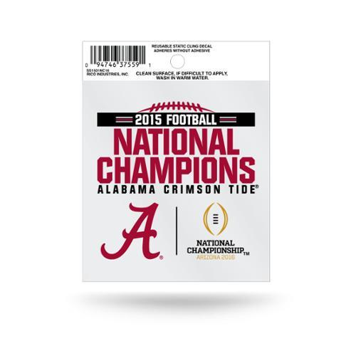 "Alabama Crimson Tide 2016 CFP Champions 3.5"" Static Cling Window Car Decal 2015 National Champ"