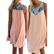 Mini Dress for Women Patchwork Plus Size Boho Sleeveless Party Tops Loose Summer Beach Cele Holiday Dress