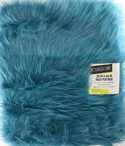 Your Zone Faux Fur 30×46 Navy Accent Rug
