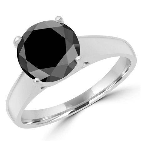 Majesty Diamonds MD170224-4 1 0.5 CT Round Black Diamond Solitaire Engagement Ring in 14K White Gold - Size 4 - image 1 of 1