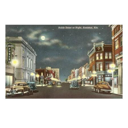 Downtown at Night, Anniston, Alabama Print Wall Art