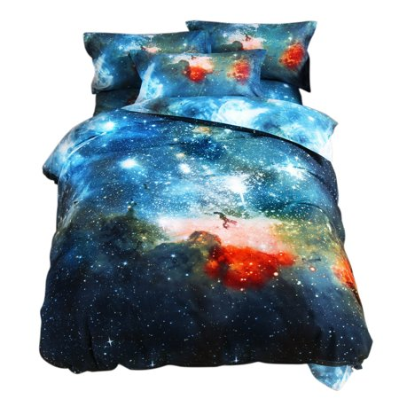 Galaxy Sky Cosmos Night Pattern Single Size Bedding Quilt Duvet Set Multicolor