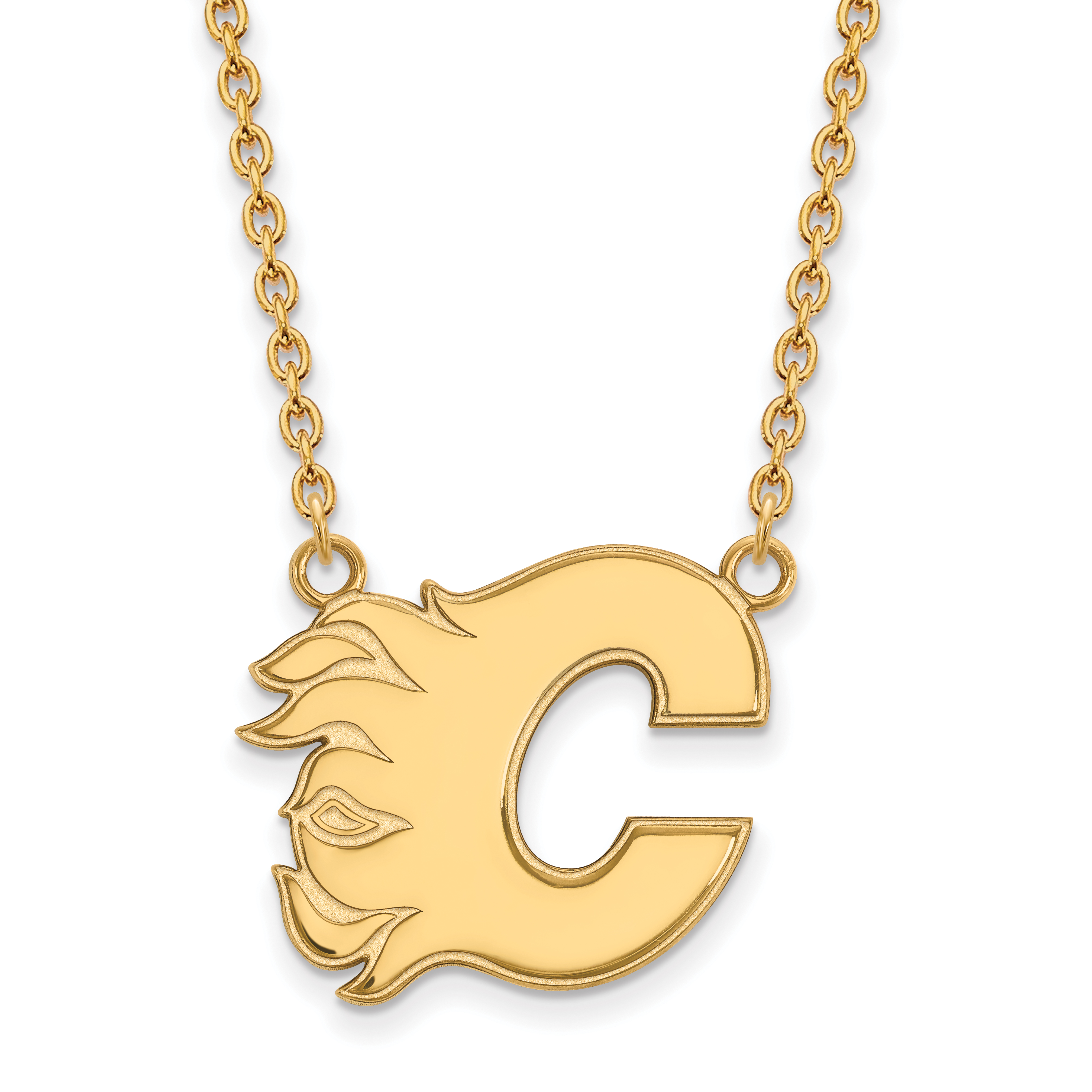 Roy Rose Jewelry Sterling Silver with 14K Yellow Gold-plated NHL LogoArt Calgary Flames Large Pendant Necklace