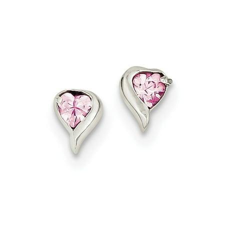 Sterling Silver Pink Cz Heart Earrings 7x6 Mm