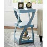 Antique Finish Twisted Side Table Distressed Black or White or Rustic Turquoise (Rustic Turquoise)