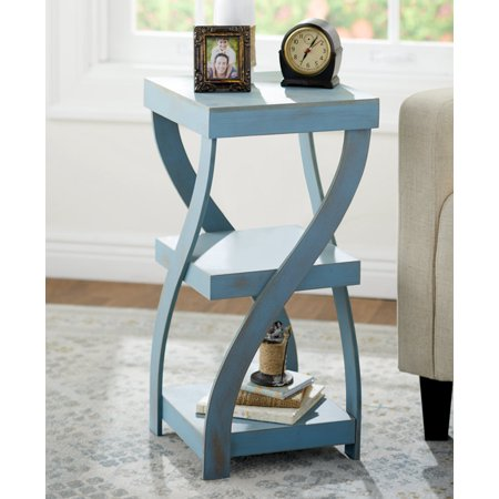 Antique Finish Twisted Side Table Distressed Black or White or Rustic Turquoise (Rustic Turquoise) ()