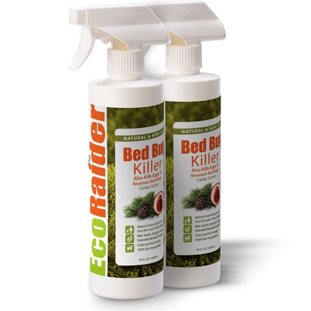 EcoRaider Bed Bug Killer 16OZ Twin-Pack, 100% Efficacy Kills on Contact, Including Eggs and Resistant Type, Residual Protection, Green and Non-Toxic, Children and Pets