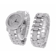 Men Watches White Gold Finish Bracelet Gift Set Hip Hop Iced Out