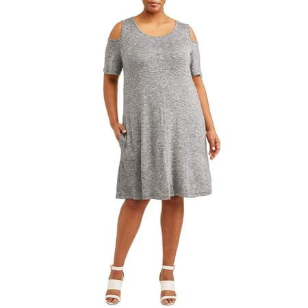 Millenium Women's Plus Size Cold Shoulder Dress with Pockets (Dresses Plus Size Sale)