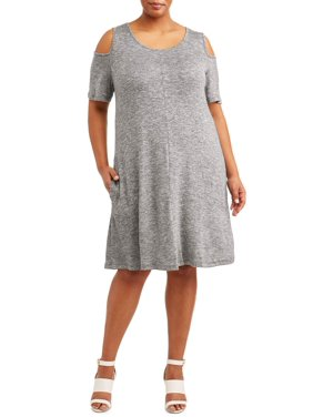 e584395be8d Product Image Women's Plus-Size Cold Shoulder Dress with Pockets