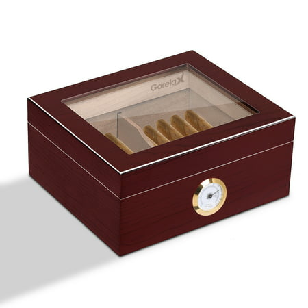 Gymax 25-50 Cigar Humidor Storage Box Desktop Glasstop Humidifier w/ Hygrometer Cherry