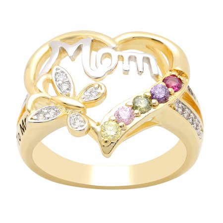 Two Hearts One Love Ring (Mom Heart Ring Inscribed