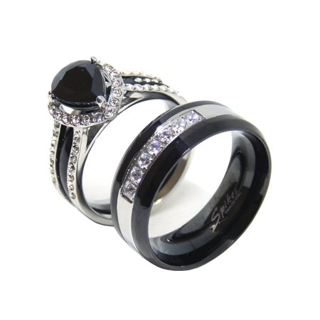 His Hers Couples Ring Set Womens Black Pear CZ Promise Ring Mens 7 CZs Wedding Band- Size W5M9 ()