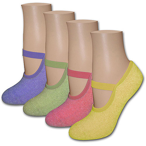 MUK LUKS - Women's Buttercreme Mary-Jane Sock Slipper with Aloe 4-Pack
