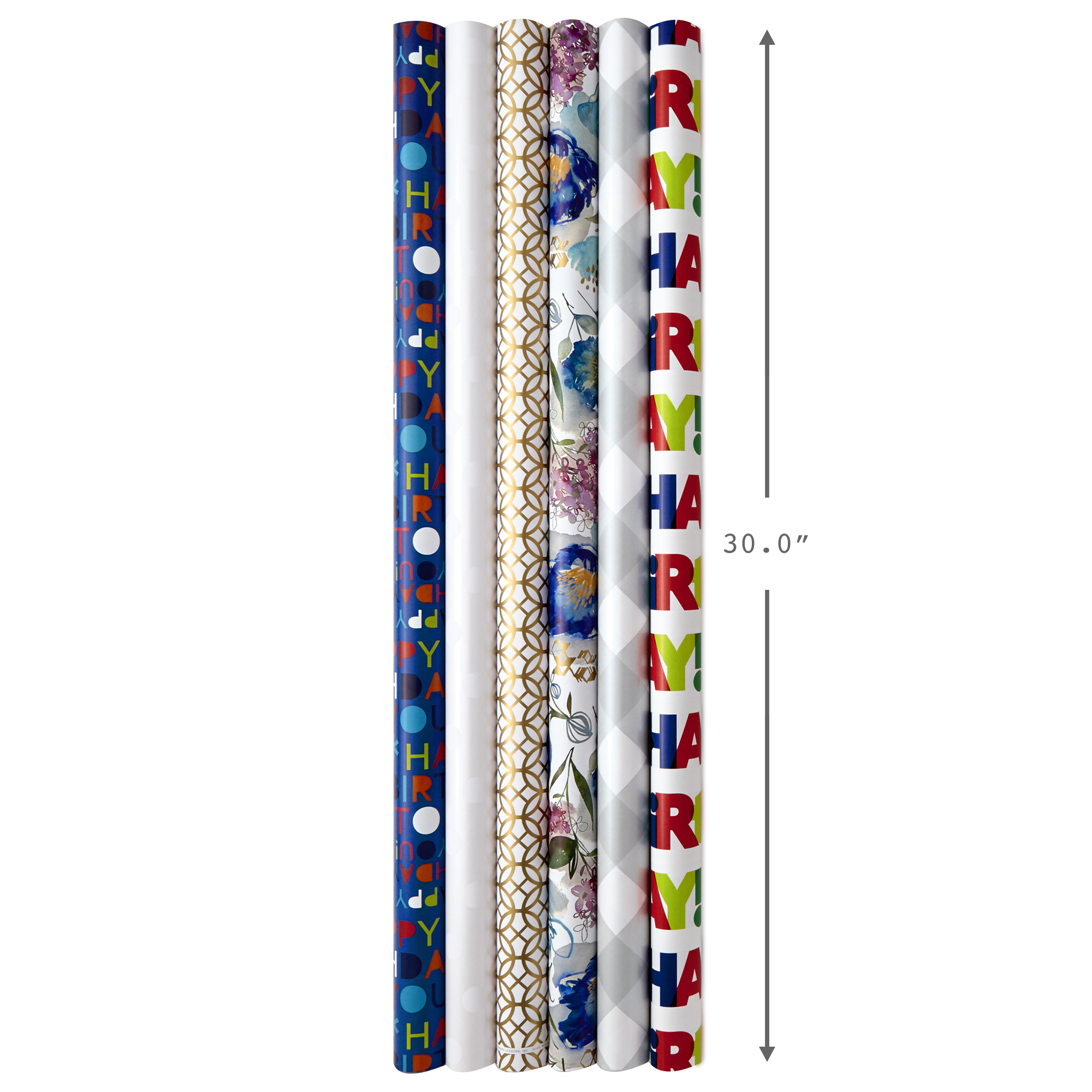 Hallmark All Occasion Wrapping Paper Bundle with Cut Lines on Reverse, Solids & Patterns—Birthday, Holiday, Wedding (Pack of 6, 180 sq. ft. ttl.)