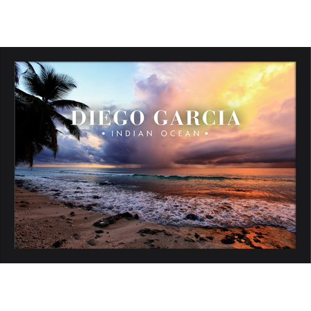 Diego Garcia, Indian Ocean - Beach and Sunset - Lantern Press Photography (24x16 Giclee Art Print, Gallery Framed, Black Wood)