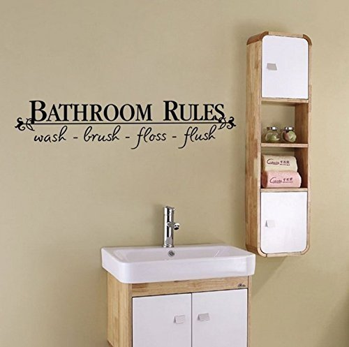 "Decal ~ BATHROOM RULES #2 ~ WALL DECAL, HOME DECOR 6.5"" X 27"""