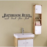 "Decal ~ BATHROOM RULES #2 ~ WALL DECAL, HOME DECOR 6.5"" X 27"""
