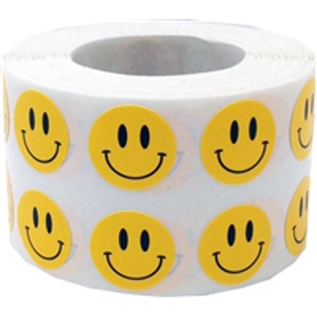 Smiley Face Charts - Yellow Smiley Face Circle Dot Stickers, 1/2 Inch Round, 1000 Labels on a Roll