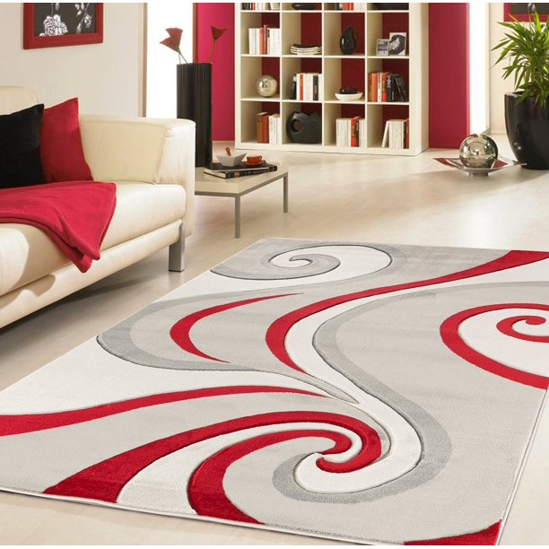 Modern Swirls Hand Carved Soft Living Room Area Rug Walmart Com Walmart Com