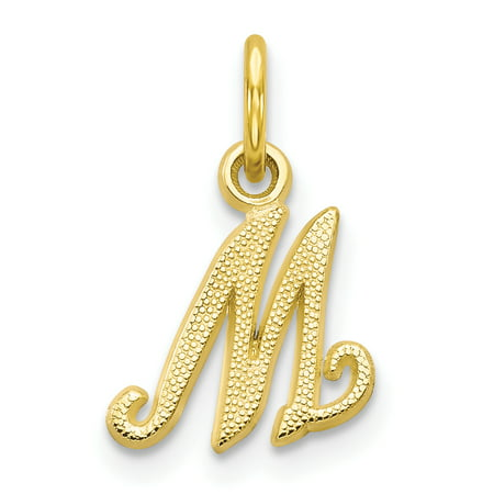 10k Yellow Gold Initial Monogram Name Letter M Pendant Charm Necklace Gifts For Women For Her