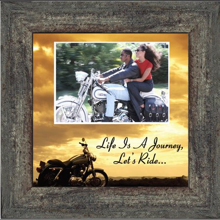 """Harley Davidson Classic Motorcycle """"Life is a Journey, Let's Ride"""" Sunset Harley Lover Picture Frame, 10x10 9764"""