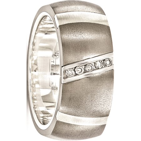 Edward Mirell Titanium & Sterling Silver .10ctw Dia 10mm Ring - image 7 de 7