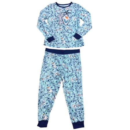 dbc6fc901d Disney - Disney Womens Frozen Olaf Snowman Fleece Pajamas Let It Go  Snowflake Sleep Set - Size - X-Large - Walmart.com