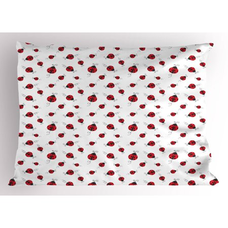 Ladybugs Pillow Sham Ladybug with Dotted Wings Swirls and Curves Abstract Simple Pattern Animal, Decorative Standard Size Printed Pillowcase, 26 X 20 Inches, Red Black White, by - Lady Bug Wings