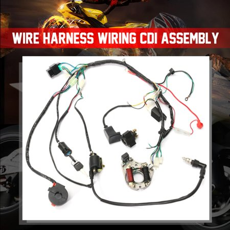 1 set wire harness wiring cdi assembly for 50/70/90/110cc/125cc atv quad  coolster go kart - walmart com