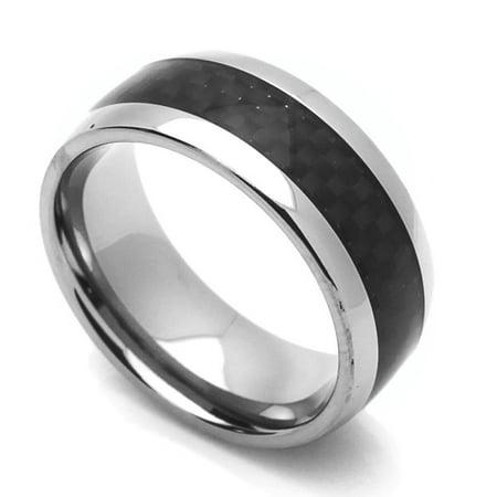 Men Women 8mm Comfort Fit Titanium Wedding Band Carbon Fiber Inlaid