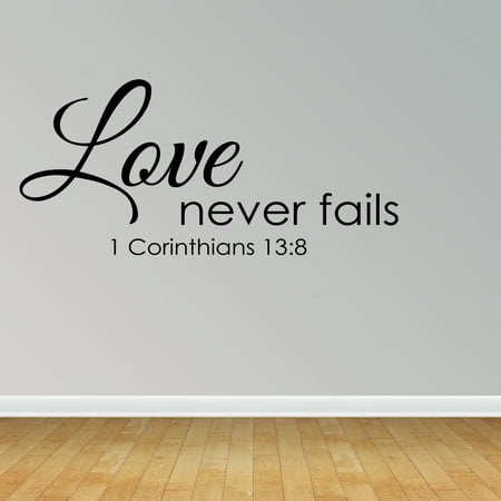 Wall Decal Quote Love Never Fails Christian Bible Verse Sticker Scripture R35](Christian Stickers)