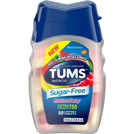 - 2 Pack - TUMS Extra Strength Antacid Sugar Free Melon Berry Chewable Tablet, 80 ea