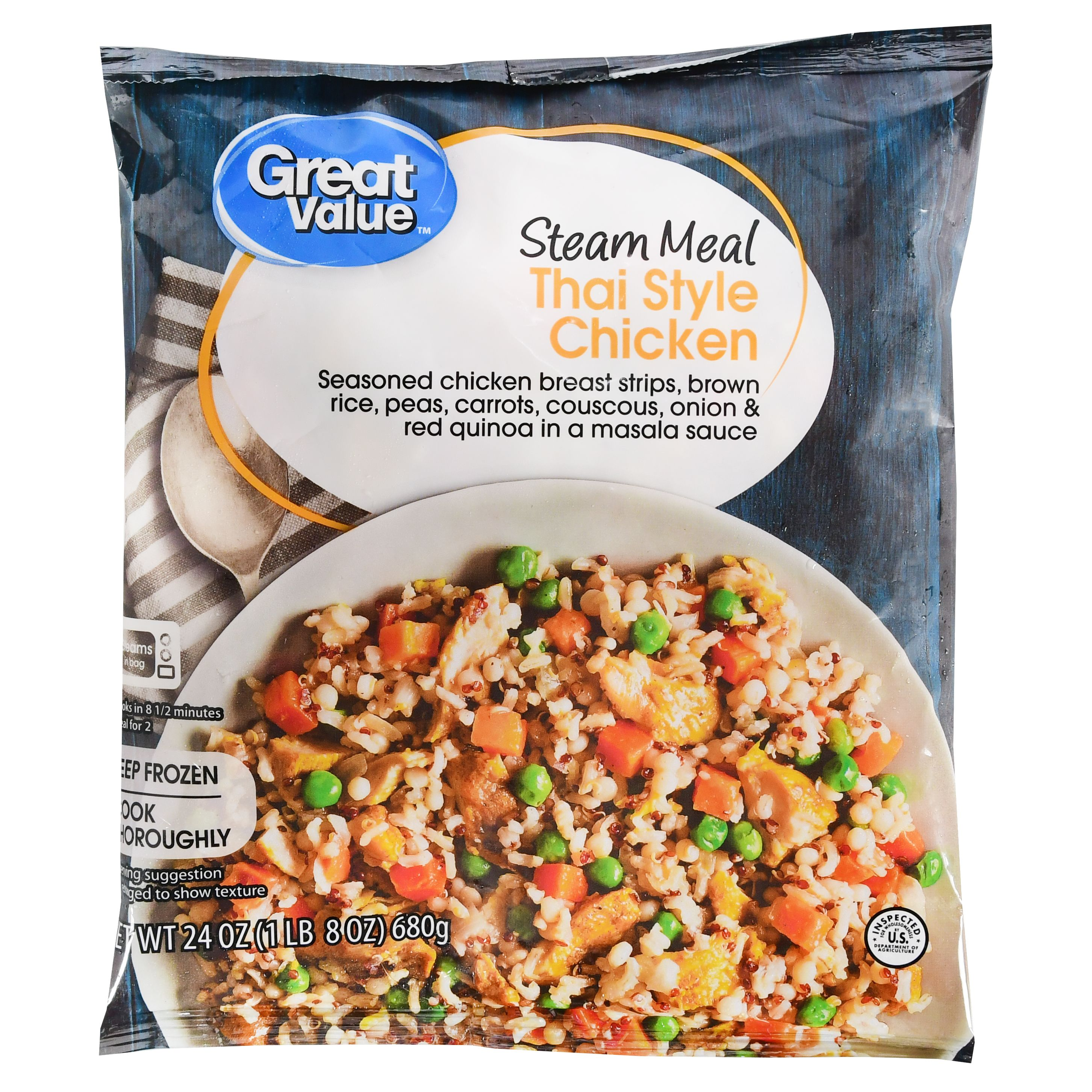 Great Value Thai Style Chicken, Steam Meal, 24 oz