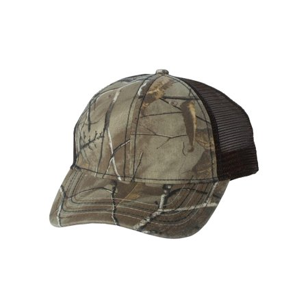Outdoor Cap Headwear Camo Cap with Mesh Back and American Flag Undervisor (Normal Hat Size)