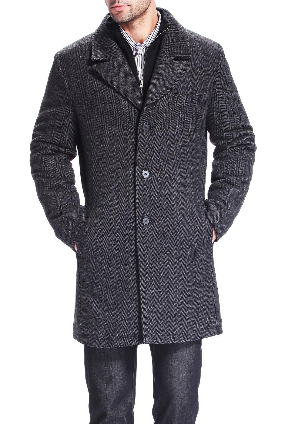 BGSD Men's 'Derek' Herringbone Wool Blend Bibbed Walking Coat by Mens Wool Coats