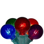 20-Count Multicolor Transparent G40 Globe Christmas Light Set, 19ft Green Wire