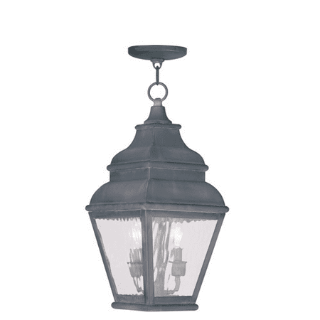 Outdoor Pendants 2 Light With Clear Water Glass Charcoal size 8 in 120 Watts - World of Crystal ()