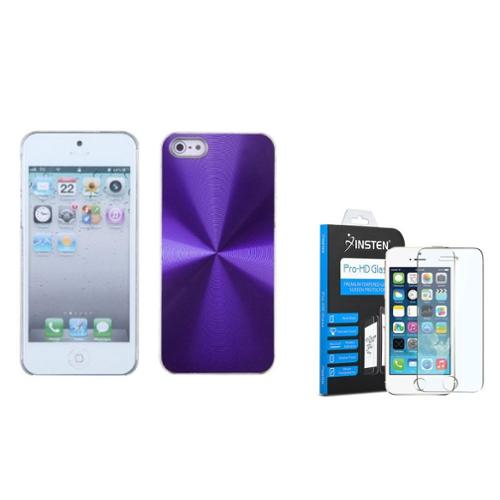 iPhone SE / 5S / 5 Purple Cosmo Back Case by Insten (with Tempered Glass Screen Protector)