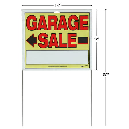 (2 Pack) Sunburst Systems Medium 2-Sided Garage Sale Sign with Metal U-Stake