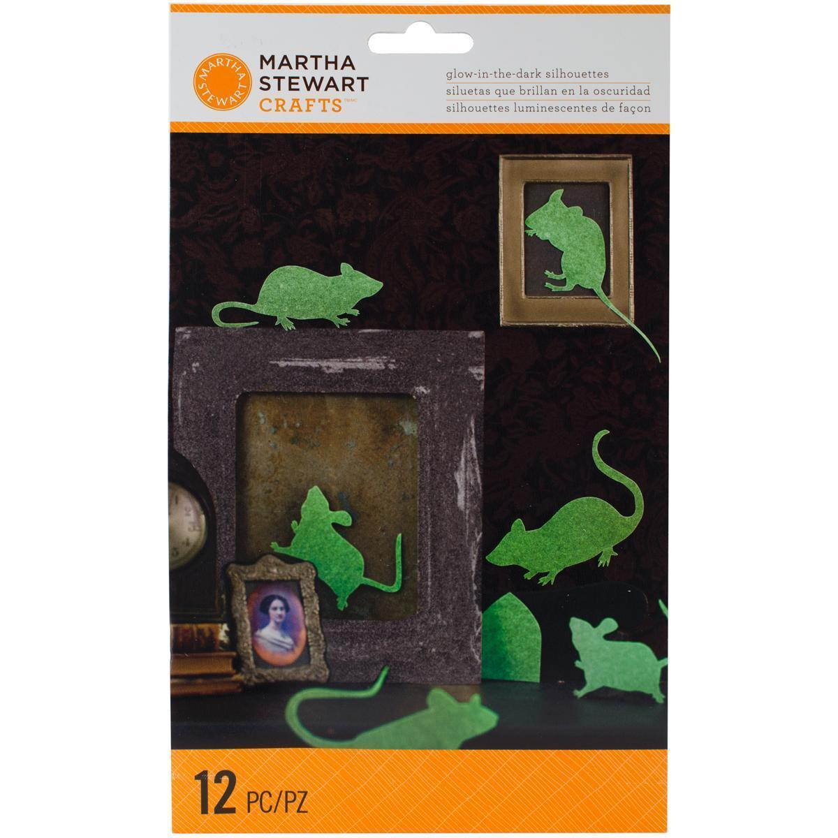 Martha Stewart Halloween Silhouettes 12/Pkg - Glow In The Dark Mouse