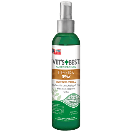 Vets Best Flea & Tick Spray | Flea Treatment and Mosquito Repellent for Dogs | Flea Killer with Certified Natural Oils | 8