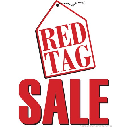 Red Tag Sale Retail Display Sign, 18