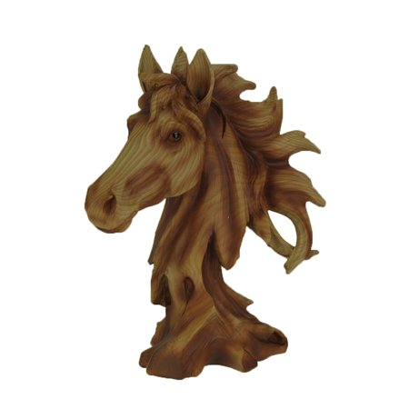 Faux Carved Horse Head Wood Look Statue ()