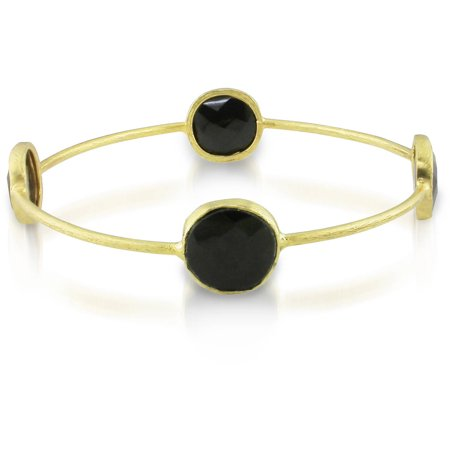 16 Carat T.G.W. Black Onyx Brass Bangle, - Onyx Stone Bangles
