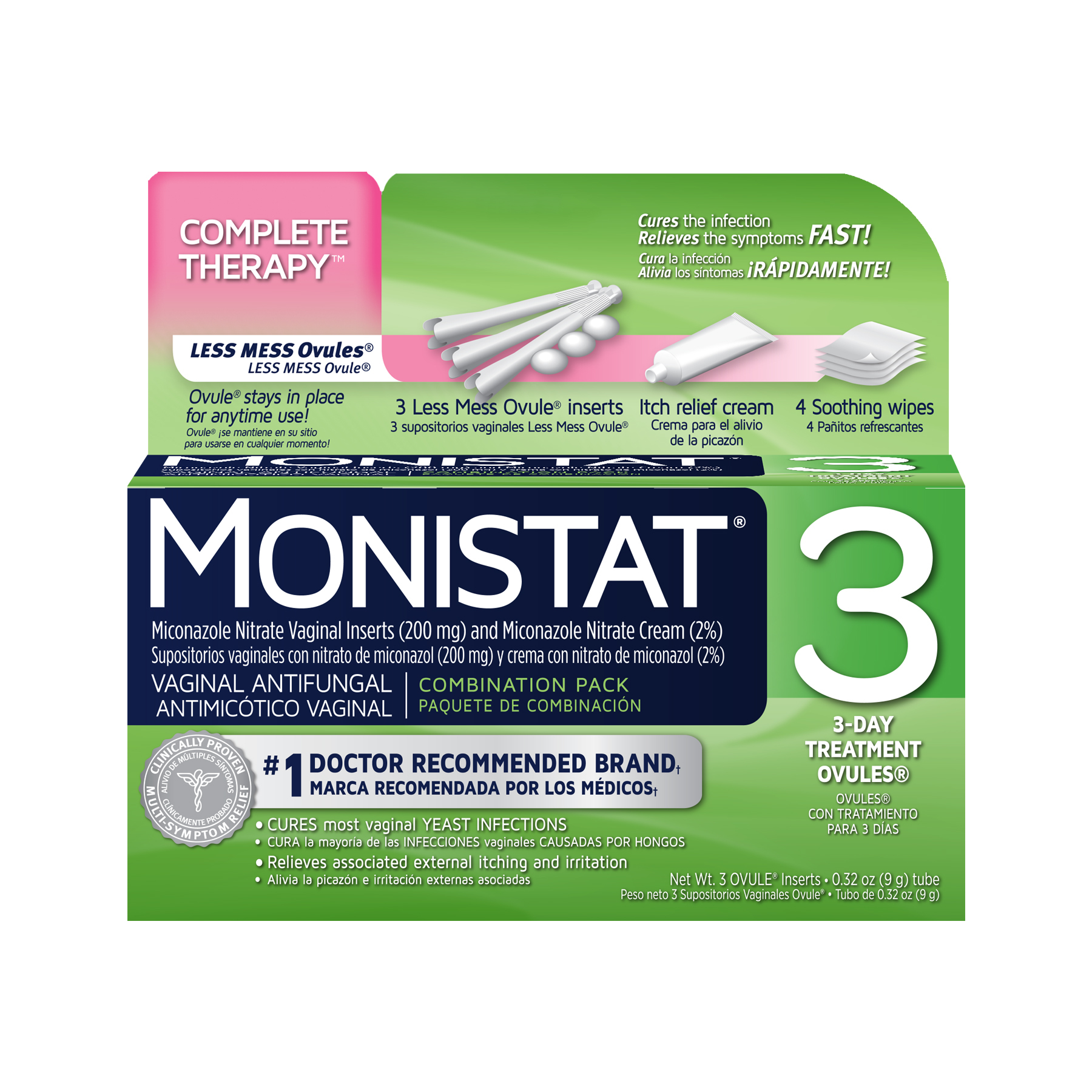 Monistat 3 Vaginal Antifungal 3-Day Treatment Ovules Complete Therapy