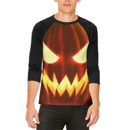 Halloween Scary Jack-O-Lantern Costume Mens Raglan T - Halloween Makeup Not Scary